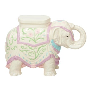 Hollywood Regency Ceramic Elephant Garden Stool or Side Table For Sale