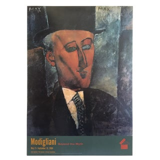 "Modigliani Lithograph Print Jewish Museum Exhibition Poster "" Portrait of Max Jacob "" 1916 For Sale"