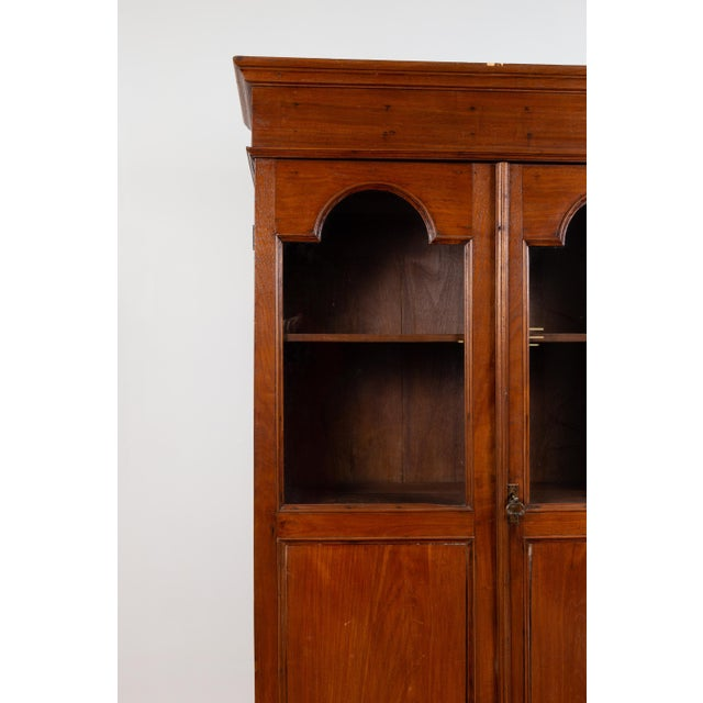 Antique Dutch Colonial Tall China Cabinet With Glass Doors and Arched Motifs For Sale - Image 10 of 13