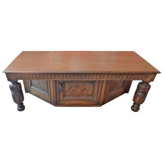 19th Century Spanish Hand-Carved Walnut Low Table For Sale