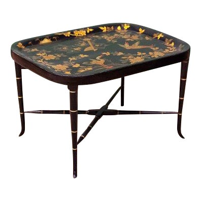 Mid 19th Century Painted Tole Tray On Faux Bamboo Stand For Sale