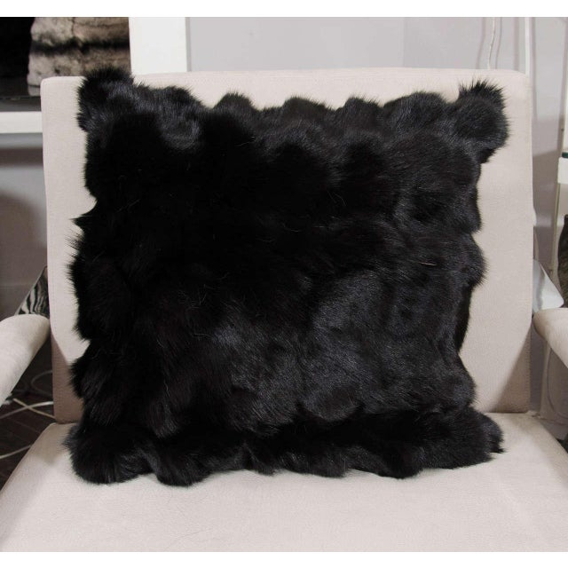 Custom Black Pieced Fox Pillow with Suede and Diamond Pattern Backing For Sale In New York - Image 6 of 6