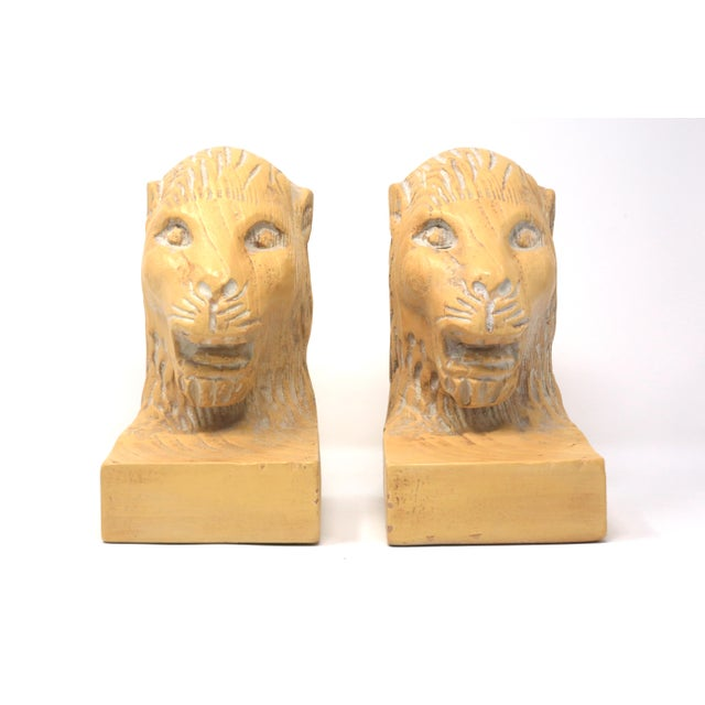 1980s Vintage Hand Carved Lion Head Bookends For Sale - Image 5 of 10