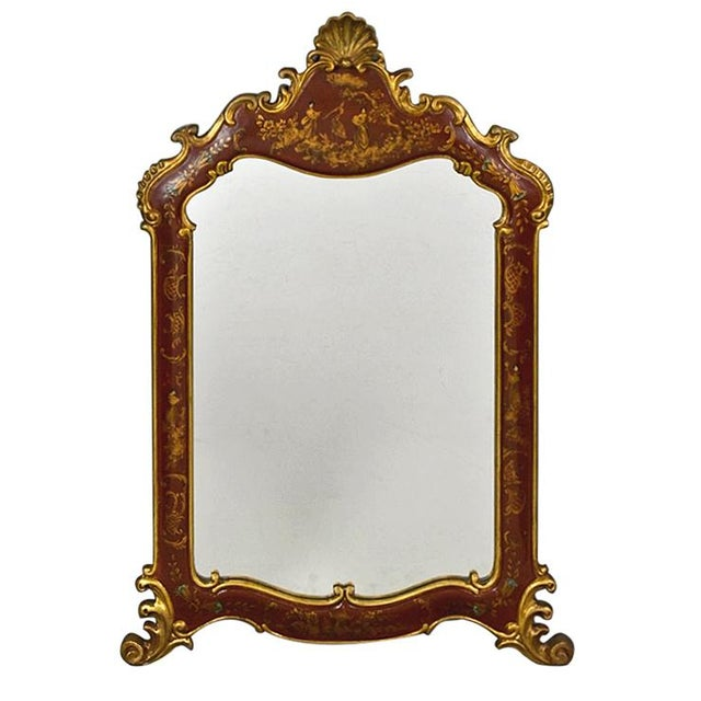 1950s Vintage Chinoiserie Red Laquered Mirror For Sale - Image 11 of 11