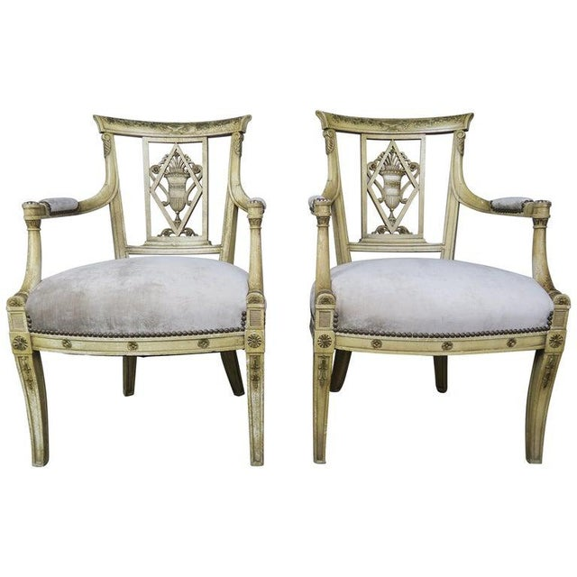 Pair of 1930s Italian Neoclassical Painted Armchairs W/ Urns For Sale - Image 12 of 12