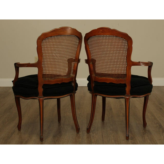 1950s 1950s French Louis XV Style Custom Quality Cane Back Fauteuil Armchairs - a Pair For Sale - Image 5 of 13