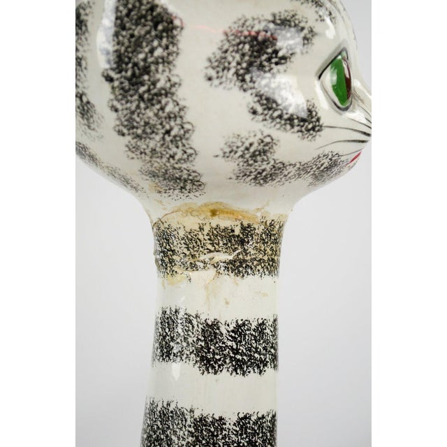 Ceramic Mid-Century Italian Majolica Tall Ceramic Cat Sculpture For Sale - Image 7 of 13