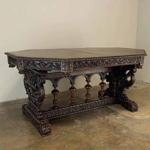 19th Century French Renaissance Octagonal Library Table For Sale - Image 13 of 13