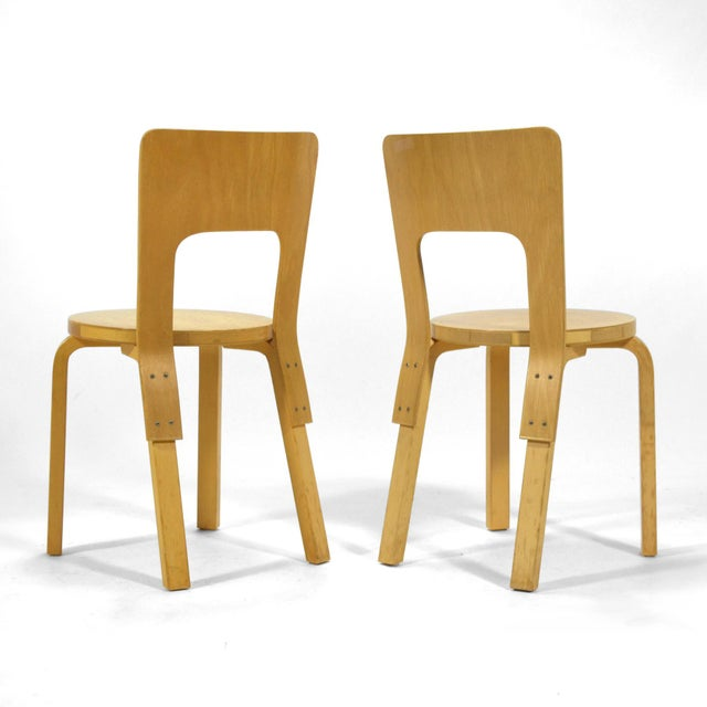 Alvar Aalto Pair of Model 66 chairs For Sale In Chicago - Image 6 of 11
