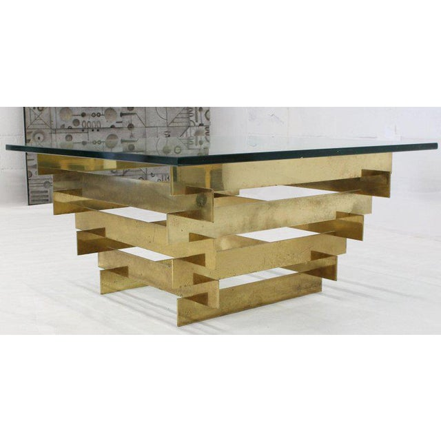 Mid-Century Modern 1970s Mid-Century Modern Bronze Base Glass Top Square Coffee Table For Sale - Image 3 of 12