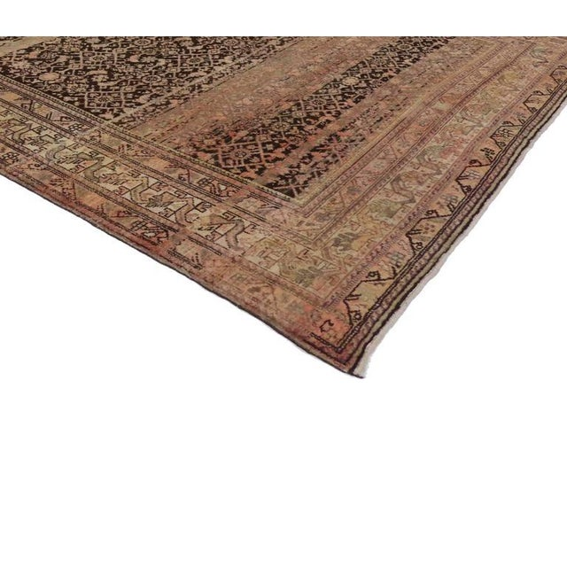 Antique Persian Malayer Rug with Modern Design and Industrial Aesthetic For Sale - Image 4 of 7