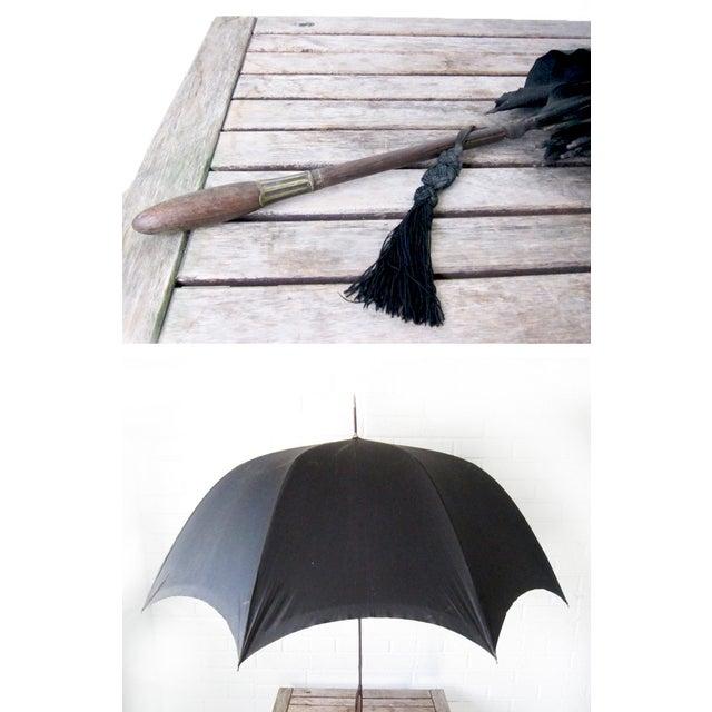 Antique Edwardian Mens Silk Parasol Black Umbrella - Image 4 of 6