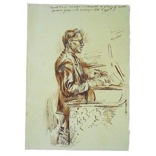 Original Vintage Drawing-David Fredenthal-U.N.Suez Crisis-Henry Cabot Lodge u.s. Delegate For Sale