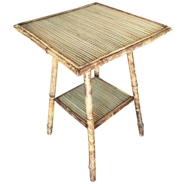 Restored Tiger Bamboo Pedestal Side Table With Slat Bamboo Top For Sale