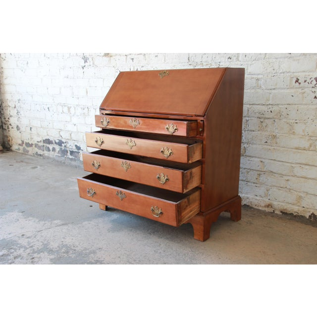 18th Century Early American Chippendale Cherry Wood Drop-Front Secretary Desk For Sale - Image 9 of 13