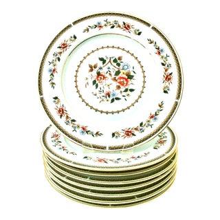 20th Century Japanese Porcelain & 22k Gold Floral Motif Dinner Plates - Set of 8 For Sale