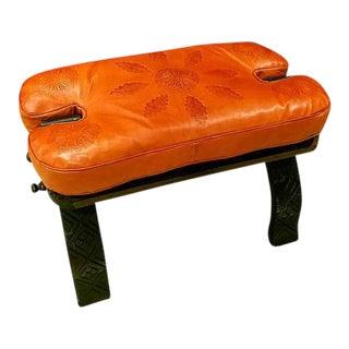Moroccan Faded Orange Leather Camel Saddle