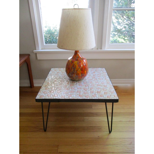 Mosaic Mid-Century Modern Orange and White Coffee Table Patio Furniture - Image 7 of 11
