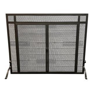 Pilgrim Forged Iron Fireplace Screen + Straight Doors For Sale
