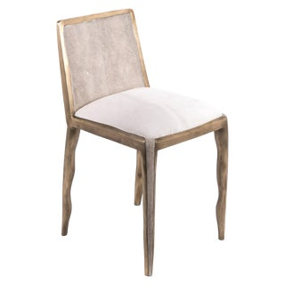 Melting Chair in Cream Shagreen and Bronze-Patina Brass by R&y Augousti For Sale