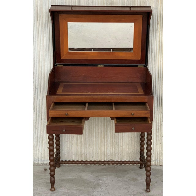Mid-Century Modern 19th Rosewood Art Deco Open Up Vanity or Secretary Desk. Dressing Table For Sale - Image 3 of 11