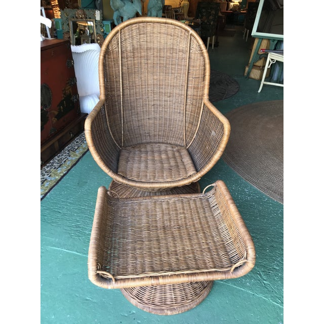 Vintage Wicker Egg Chair and Ottoman For Sale - Image 11 of 12