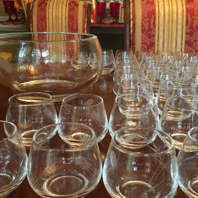 Ambassador to Italy's Crystal Punch Glasses & Bowl - Set of 73 For Sale - Image 11 of 12