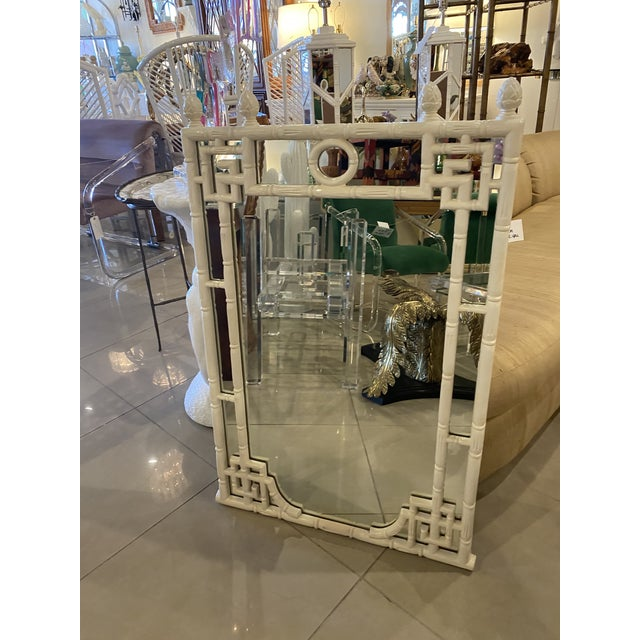Vintage Chinese Chippendale White Faux Bamboo Greek Key Wall Mirror For Sale - Image 12 of 12