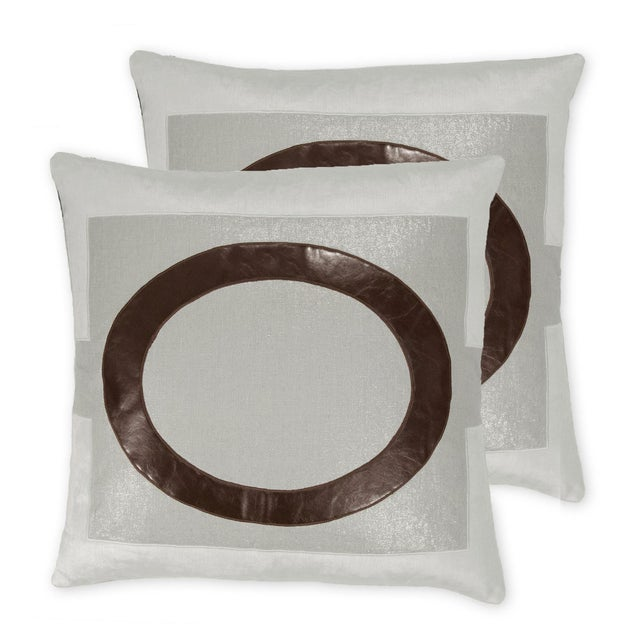 Blue metallic linen pillow with pale blue velvet appliqué and brunette vegan leather appliqué. Priced for a pair*. Solid...