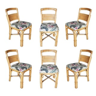 """Restored Mid-Century """"Slat Back"""" Rattan Dining Side Chair- Set of 6 For Sale"""