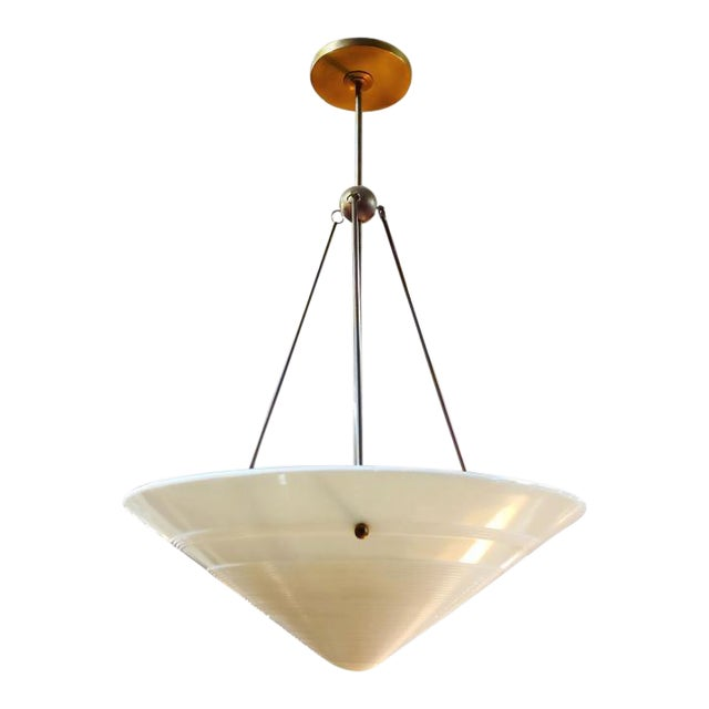 Vintage Milk Glass and Brass Pendant, French For Sale