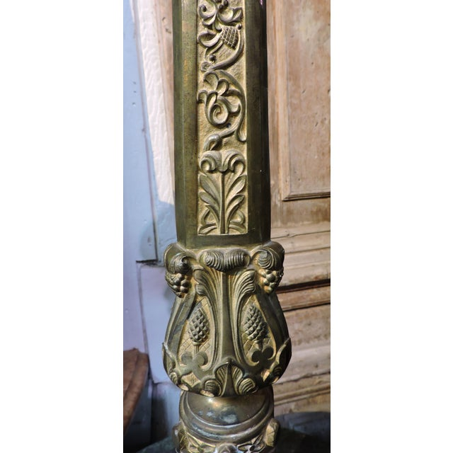 Late 19th Century French Gilded Church Candlestick With Christian Symbols For Sale - Image 5 of 6