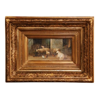 19th Century Sheep Painting in Carved Gilt Wood Frame Signed J. Scholaerts For Sale