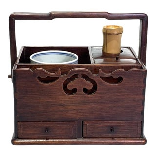 Antique Japanese Rosewood Tobako-Bon Smoking Set For Sale