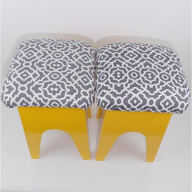 Mid-Century Modern Marigold Geometric Pattern Stools - A Pair - Image 5 of 8