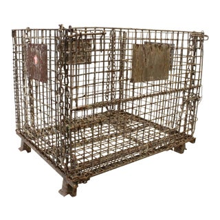Early 20th Antique American Industrial Collapsible Basket For Sale
