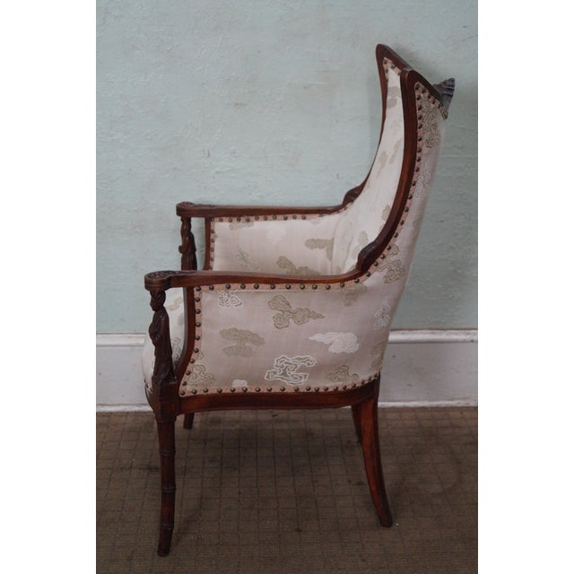 Vintage Chinese Chippendale Style Wing Chair - Image 3 of 10