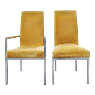 Milo Baughman Style Founders Aluminum & Upholstery Side Chairs - a Pair