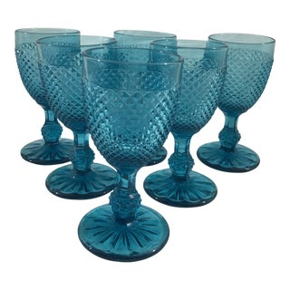 19th Century Blue Baccarat Wine Glasses - Set of 6 For Sale