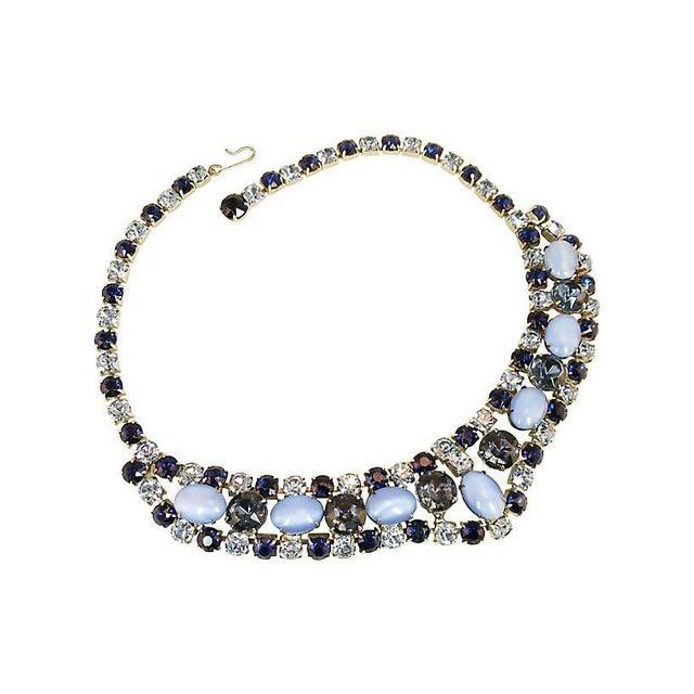 Mid-Century Modern D&e Juliana Sapphire & Cats-Eye Art Glass Necklace Set, 1960s For Sale - Image 3 of 8