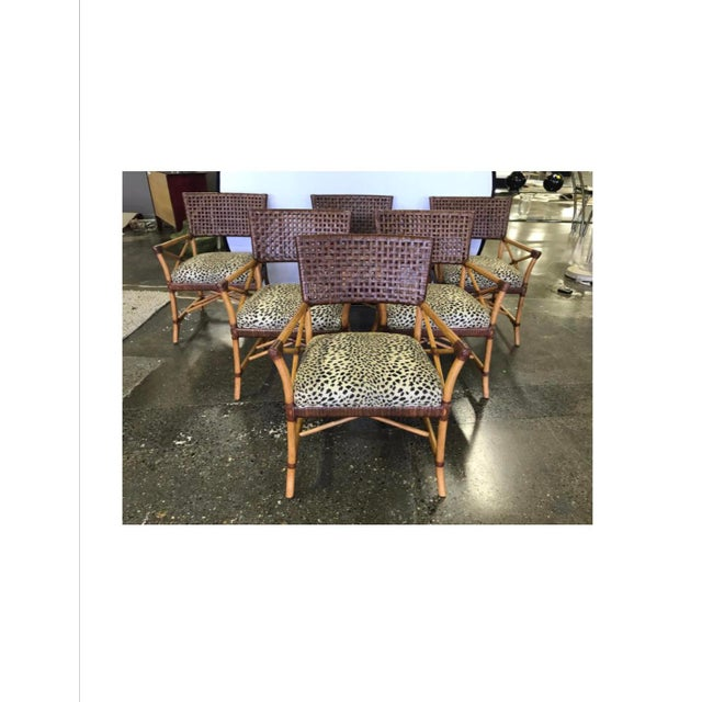 2000 - 2009 Hickory White Woven Leather and Bamboo Dining Chairs With Round Wood Table Set For Sale - Image 5 of 13