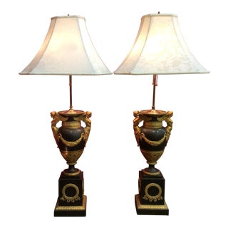 Empire French Antique Bronze With Gold Gilt Decoration Lamps - a Pair