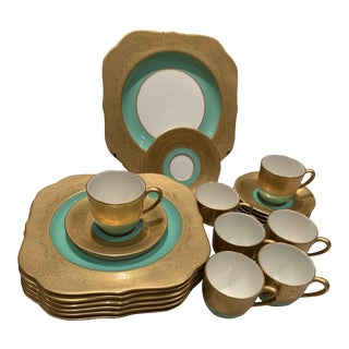 Lenox Gold Encrusted Rim With Green Band Dessert/Salad Plates With Demitasse Cups and Saucers For Sale