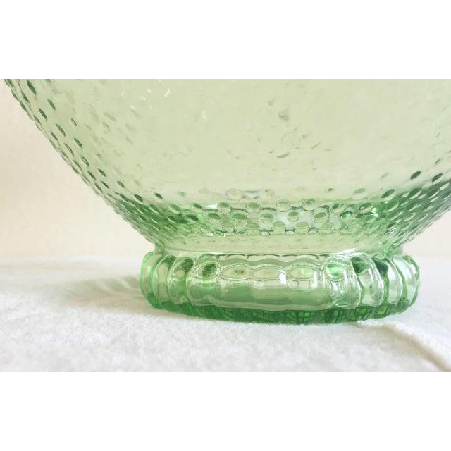 Green Depression Glass Hobnail Serving Bowl - Image 4 of 5