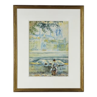 1920s Paris Seine River Watercolor Painting by Stanley, Framed For Sale