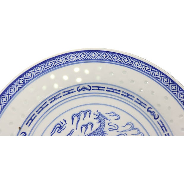 """Farmhouse Chinese """"Blue Rice"""" Dragon Plates For Sale - Image 3 of 5"""