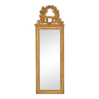1960s French Louis XVI Giltwood Mirror With Wreath Crest For Sale