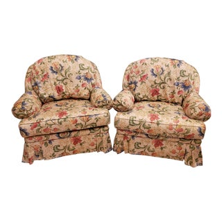 King Hickory Upholstered Overstuffed Arm Chairs Floral Pattern - a Pair For Sale