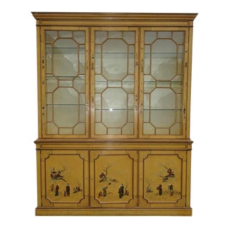 Vintage Oriental Asian Hand Painted Chinoiserie China Cabinet Hutch Italian Influence For Sale