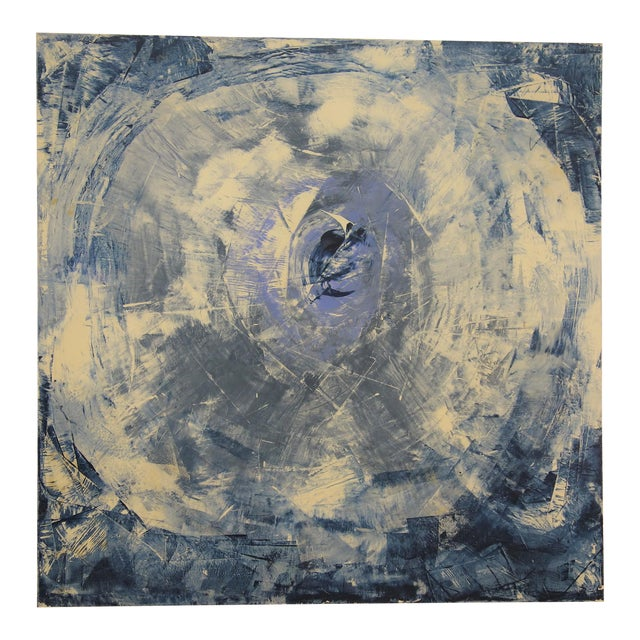 """The Eye"" Blue & White Abstract Painting - Image 1 of 8"